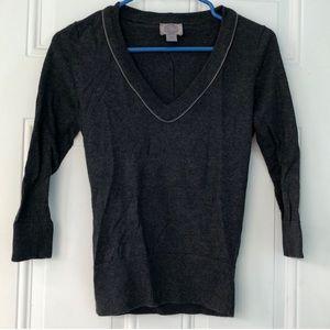 Dark Grey Angora Blend Sweater Zipper Neckline